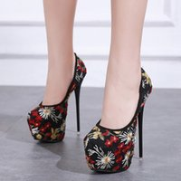 16cm Ethnic floral embroidery gauze ultra high heels platfor...