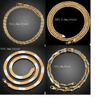 Moda Lüks Erkekler / Kadınlar Altın kaplama Kolye 3mm 5mm 6mm 8mm 9mm Zarif Sideways Zincir Takı Parti Hediyeler Aksesuarları yılan zincir Büküm