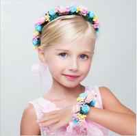여자 꽃 헤어 밴드 화환 꽃과 함께 손 링 2 개 세트 모자 머리 장식 소매를 수행 키즈 꽃 머리띠 어린이