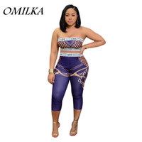 OMILKA 2018 Summer Women Strapless LOVE GOLD CHAIN Printed C...