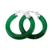 Toptan Doğal Taş Yeşil Yeşim 925 Gümüş moda küpe lady için 1 pair