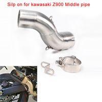 Silp on para 2017-2018 kawasaki Z900 Motocicleta de Acero Inoxidable de Conexión Medio Silenciador de Tubería Sistema de Escape