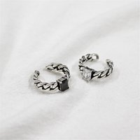 100% 925 Sterling Silver Wide Chain Knot Rings For Women Bla...