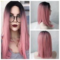Black Ombre Pink Short Straight Bob Synthetic Lace Front Wig...