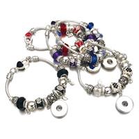Mode Argent Cristal Perle De Verre Lien de Bracelet 328 18mm Snap Bouton Charme Bracelet Bijoux Pour Femmes Adolescents Cadeau