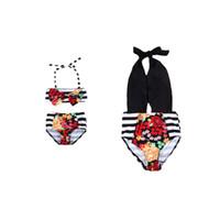 Trajes a juego de la familia Monther Hija Mujeres Niños Bebé Niñas Bikini de una pieza Conjunto de trajes de baño Traje de baño