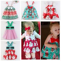 2018 baby christmas clothes reindeer santa printed dresses s...