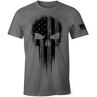 EUA Bandeira Americana Militar Preto Crânio Patriótico T Shirt dos homens Camiseta de Manga Curta Tops