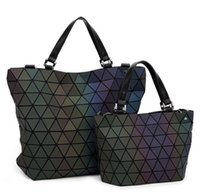 Fosco Mulheres Bao Bao saco Luminous baobao Sac Diamante bolsa Geometria Acolchoado Ombro Do Laser Simples Dobrável Tote Top Handle Bags obag Bolsa