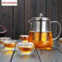 Promoção Filtro Venda Hot Heat Resistant copo Chaleira Bule Flower Tea Set Pu'er Coffee Tea Pot Copos Set aço inoxidável Nova