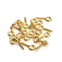 600 adet / grup Altın Kaplama Küçük Tiny Mini Göz Pins Eyepins Kanca Kuşgözü Dişli DIY Takı Yapımı 8mm