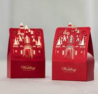 Düğün Şekerleri Hediyeler Kutuları Aşk Şatosu Çikolata Iyilik Kağıt Torbalar Kutuları Düğün Gelin ve Damat Ile Kutu Şekeri