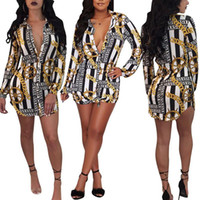 2018 new Women Casual Dresses Sexy fashion Chain printing sh...