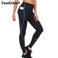 FeelinGirl المرأة ساونا النيوبرين بانت الجانب الجيب الساخن الحرارية حرق الدهون عرق اليوغا الرياضة اللباس الجسم المشكل-C