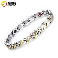 Silver Gold Color Stainless Steel Men Healing Energy Bracele...