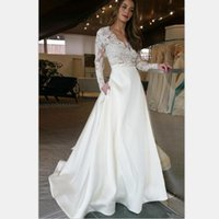 Vestido de novia largo elegante con la ilusión de manga larga de encaje ver a través de Top Una línea de vestido de novia vestidos de boda por encargo
