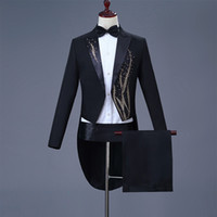 Cozimastarla Para Hombre Trajes de Vestir de Boda Coro Cantante Escenario  Traje Mágico Hombres Novio Esmoquin af555597cd3