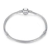 Argento 925 placcato Bracciali 3MM della catena del serpente del braccialetto del braccialetto europeo perle di collana senza marchio 16CM-45CM