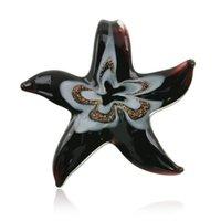 الجملة جديد كبير فريد lampwork براون نجم البحر مورانو فن الزجاج قلادة قلادة للنساء هدية