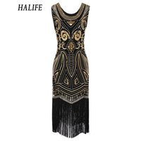 HALIFE 2018 Summer Dress 1920s Paillettes Retro Party Bordare Bordatura Senza Maniche Fasciatura Matita Lavoro Flapper Dress Plus Size S15