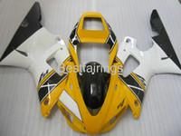 Kostenlose benutzerdefinierte Verkleidungs-Kit für Yamaha R1 1998 1998 Yellow White Black Fostings YZF R1 98 99 QR43
