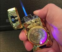 2 in 1 torcia jet vigilanza del quarzo accendisigari gas butano riutilizzabile antivento blu bruciatura fiamma metallo oro cucina eagle cinghia gecko