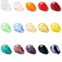 100pcs Teardrop Beads Österreich Kristall Perlen Waterdrop Perlen Lose Distanzscheibe für DIY Schmuckherstellung, 3x5mm, U Pick Farben