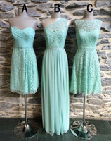 3 Mixed Styles Sage Lace and Chiffon Bridesmaid Dresses Perf...