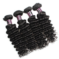 Deep Wave Hair Weaves Peruvian Indian Virgin Human Hair Bund...