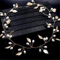 Pearls Gold Leaves Boho Wedding Bridal Headband Bride Brides...