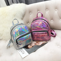 2018 New Fashion Hologram Laser Backpack Pink Silver Waterpr...