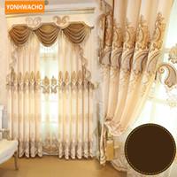 Benutzerdefinierte Vorhänge hochwertigen Luxus Chenille europäischen bestickten Wohnzimmer Tuch Verdunkelung Vorhang Tüll Volant drapieren N759