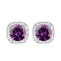 Nuevas marcas de moda de joyería pendientes pequeños cuadrados con óxido de circonio cúbico mejor regalo de Navidad para la fiesta de boda de las mujeres
