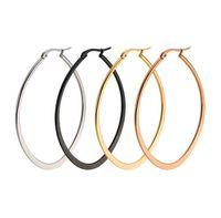 新しいビンテージジュエリーブランドイヤリングチタンステンレス鋼ゴールドシルバーブラックフープイヤリングビッグサイズ女性イヤリングアクセサリー10pair /ロット
