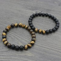 JOCESTYLE High Quality Yellow Tiger Eye Buddha Bracelets Natural Lava  Pray Wealth Lucky Classical Jewelry For Women & Men