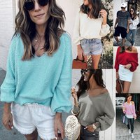 6 Colors Autumn Winter Knitted V Neck Long Sleeve Sweater Wo...
