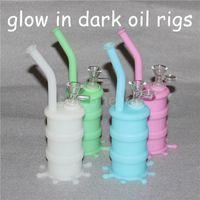 Popolari Rigs Silicon Narghilè Bong Bagliore si illuminano in rig da olio di silicio scuro con palline da 14 mm di vetro da sciacquone mini piattaforme petrolifere