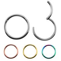 Unisex Takı için Yeni Geliş 1PC Çelik 14g 16g 18g menteşeli Septum Clicker Burun Hoop Halkalar Kulak Tragus Dudak Piercing Burun