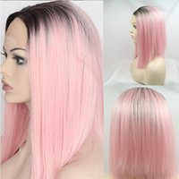 Hot Sexy Short Glueless Synthetic Lace Front Wigs Ombre Pink...