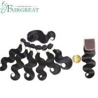 Fairgreat 6 pacotes remy cabelo humano onda do corpo em linha reta com fecho de cabelo humano feixes com lace closure extensões de cabelo humano brasileiro