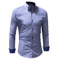 Elbise Gömlek 2018 Sıcak Satış Pamuk Erkekler Gömlek Uzun Kollu Çizgili Erkek İş Marka Giyim Resmi Erkekler Boyutu XXXL