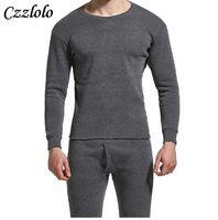 Czzlolo 겨울 남성 긴 존스 Thicken Mens 열 속옷 세트 플러스 Fluff 따뜻한 롱 존 O-Neck 열 언더 셔츠 바지