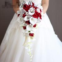 Vintage Batı tarzı düğün buketi gelinler için kristal çiçekler gelin buketleri şelale broş buque de noiva yapay holding çiçekler