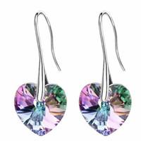 Cristal de corazón de Swarovski Elements Long Dangle Drop Earrings Joyería para mujer Bijoux Regalo de mujer Chapado en oro blanco 24797