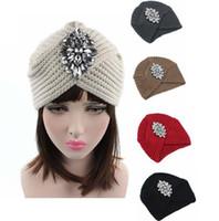 2018 Yeni Moda Kadınlar Kış Sıcak Şapka Rhinestone Hindistan Kap Kadınlar Için Türban Şapka Kadın Başkanı Wrap Sıcak Şapkalar Beanies