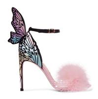 النساء الصنادل فراشة الجناح ديكور عالية الكعب امرأة الأحذية خنجر ماركة المدرج ستار أحذية الفراء ديكور ملون أحذية الزفاف