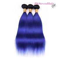 1B Mavi Düz Perulu Bakire Saç Uzantıları 3 Demetleri Çok Iki Ton Mavi Ombre Hint Malezya Remy Saç Atkı