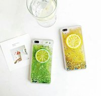 Luxury Liquid Lemon Glitter Quicksand Dynamic Summer Cover posteriore per cellulare per iPhone 8/7 / 6S / 6 Plus