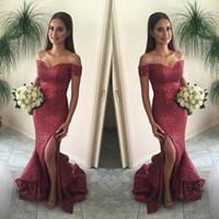 Sexy Red Off The Shoulder Lantejoulas Vestidos de Baile Barato Leg Slits Fishtail Trompete Da Dama de honra festa Evening Gowns Pageant jardim férias 2018