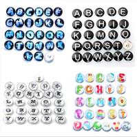 İlk A-Z alfabe mektubu Noosa chunk metal alaşım zencefil yapış bilezik için zencefil yapış düğmeler DIY takı